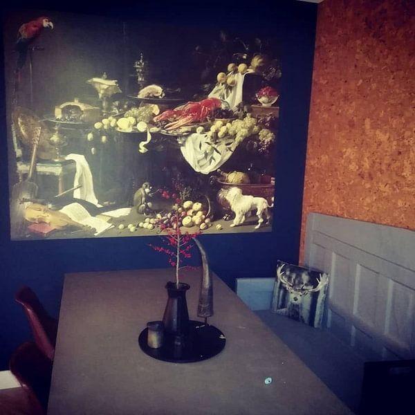 Klantfoto: Adriaen van Utrecht. Pronkstilleven van 1000 Schilderijen, op naadloos behang