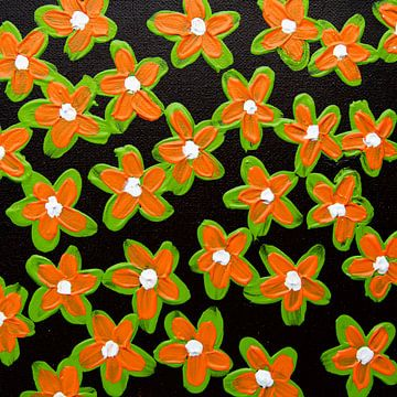 Bloemen retro oranje groen bruin van Bianca ter Riet