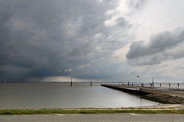 Storm wolken aan de Dollard van