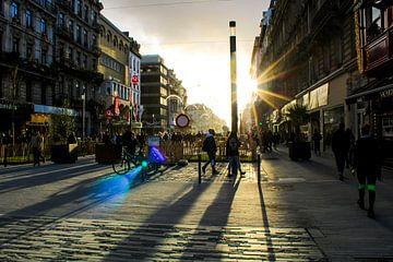 Zonneschijn op de Anspachlaan in Brussel van Scarlett van Kakerken