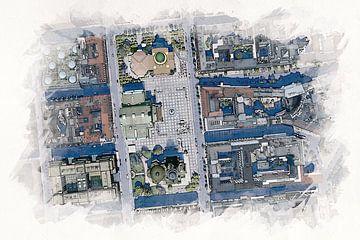 Illustration des Gendarmenmarktes in Berlin aus der Luft von Aquarel Creative Design