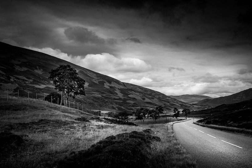 Landschap Schotland (zwart/wit) van Dennis Wardenburg