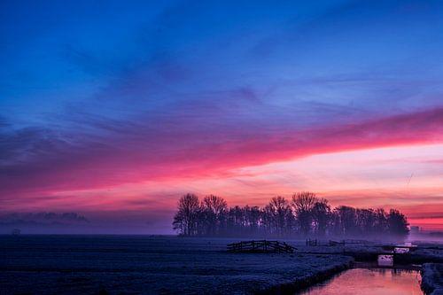 Blauw rode zonsopgang in de polder