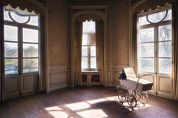 Kinderwagen staat in de Kamer. van Roman Robroek