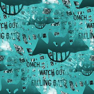 Falling Bats Grunge Aqua van Nicky`s Prints