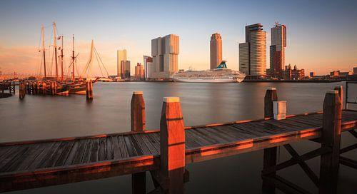 Skyline Rotterdam bij zonsondergang van