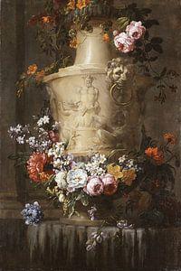 Marble Vase with Garland of Flowers, Jean-Baptiste Monnoyer