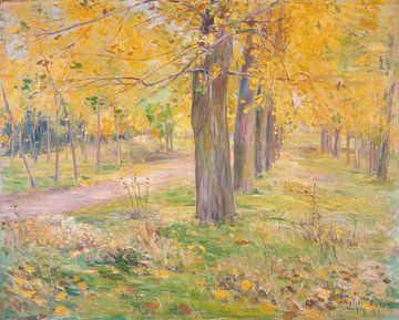 Kuroda Seiki~Populars mit gelben Blättern