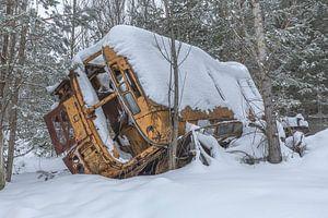 Geel gekleurde bus in het bos en de sneeuw van John Noppen