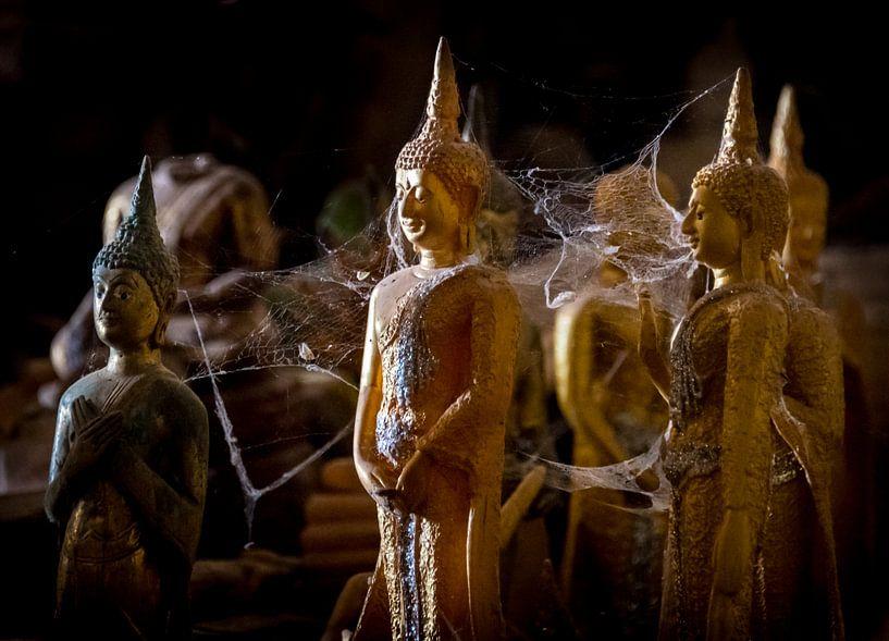 Kleine boeddha's verbonden door spinrag, Laos van Rietje Bulthuis