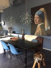 Klantfoto: Meisje met parel - Meisje van Vermeer - Schilderij (HQ), op naadloos behang