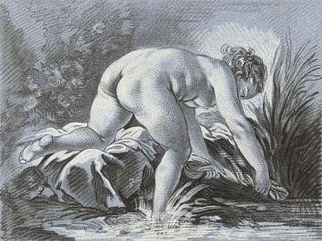 Radierung in Blau, Frau wäscht nackt, Louis-Marin Bonnet, 1768 - 1769 von Atelier Liesjes
