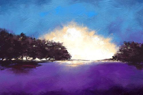 Abstract expressief landschapsschilderij van