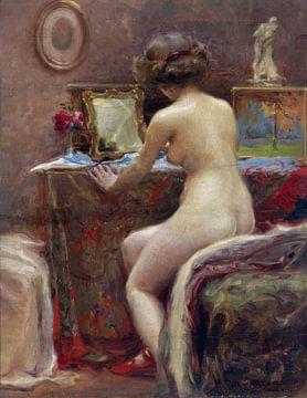 Nackt vor dem Toilettenspiegel, Vlaho Bukovac, - 1914 von Atelier Liesjes