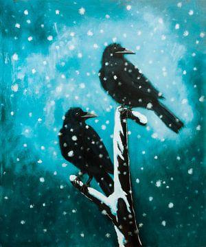 Raven in de winter
