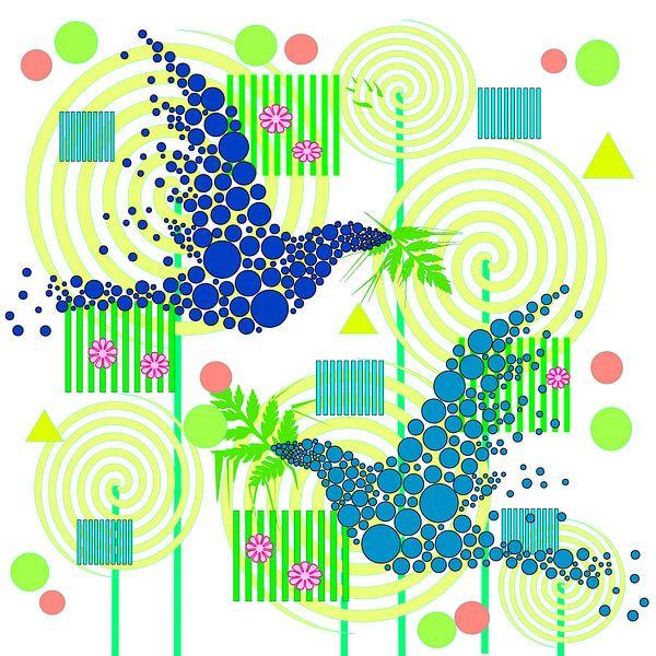 Blue Birds with leaves van Rosi Lorz