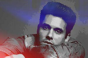 John Mayer Abstraktes Porträt in Rot-Violett von Art By Dominic