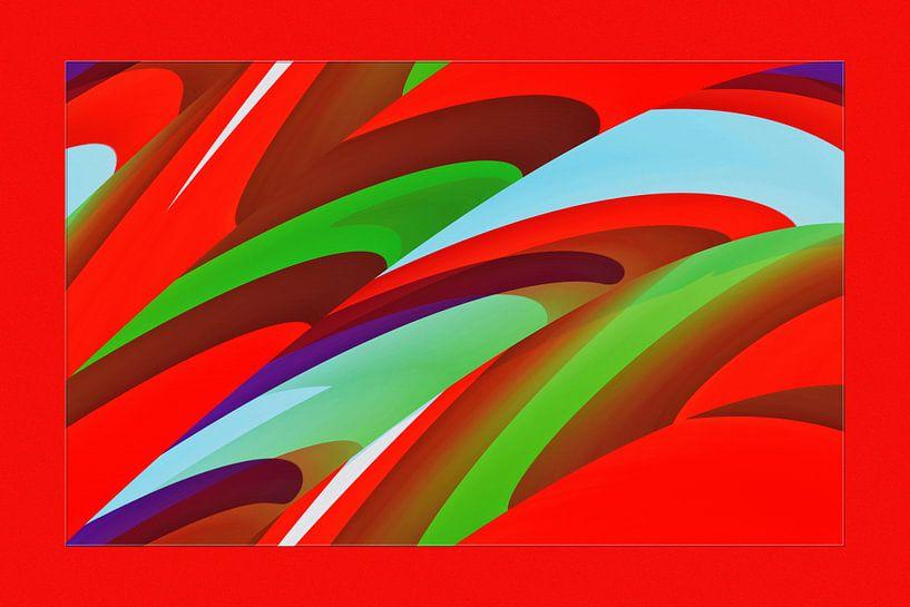 fotoGrafiek 90 (Red colored panel 2) van Hans Levendig
