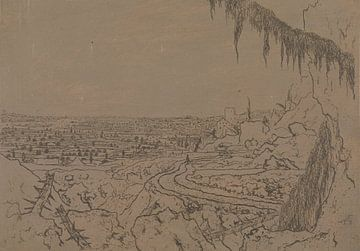 Ansicht mit Straße und moosigen Abzweigungen, Hercules Segers, um 1622 - um 1625