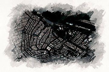 Karte von Amsterdam Zentrum von Aquarel Creative Design