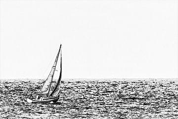 Minimalistisch zwart-wit kunstwerk van een zeilboot bij Vlissingen (Zeeland) van Art by Jeronimo