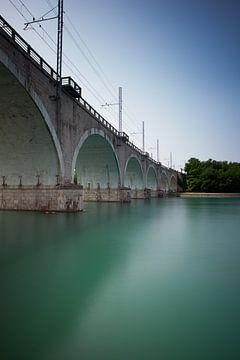 Spoorbrug Peschiera del Garda kleur von Leo van Valkenburg