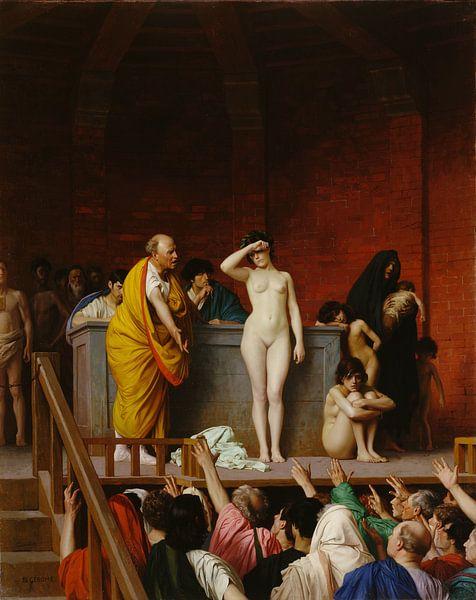 Jean-Léon Gérôme. Slavenmarkt in het oude Rome van 1000 Schilderijen
