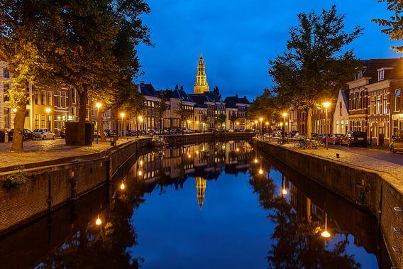 Groningen Aa-kerk @ blue hour van Koos de Wit