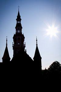 Laurentius kerk Heemskerk centrum tegenlicht van
