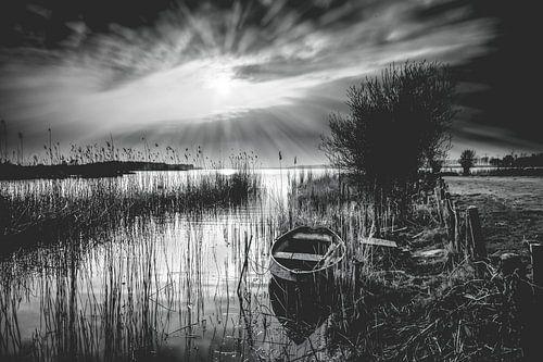 Stralend zonlicht over een oud Nederlands landschap