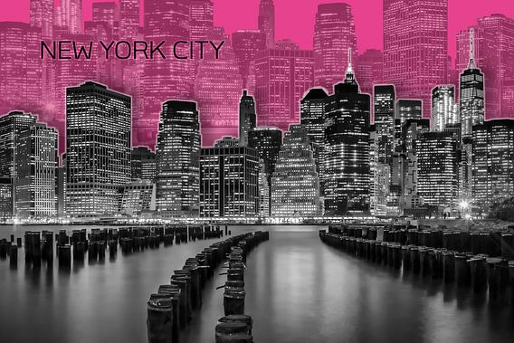 MANHATTAN skyline   Graphic Art   roze