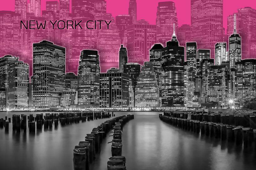MANHATTAN skyline   Graphic Art   roze van Melanie Viola