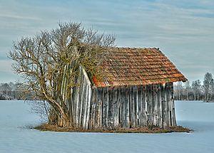 Hütte im Winter - Bayern van