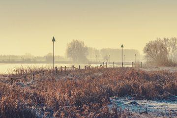 """Zonsopkomst boven de river """"De IJssel""""  van"""
