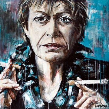 Portret schilderij van Connie Palmen. van Therese Brals