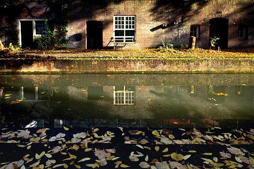 Herfstbladeren op de werven van de Nieuwegracht in Utrecht van