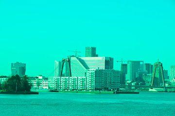 Rotterdam - Willemsbrug en omgeving - in groen-blauwe tinten van Ineke Duijzer