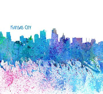 Kansas City Kansas Skyline Silhouette Impressionistisch van Markus Bleichner