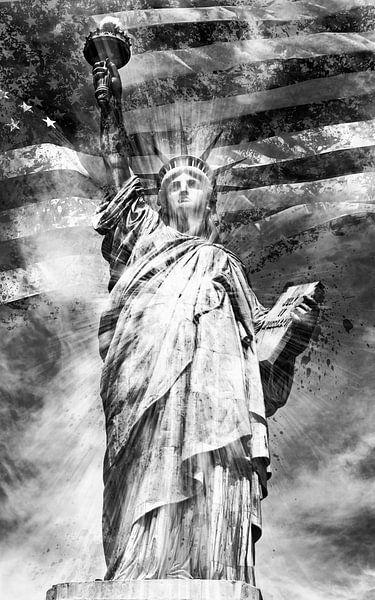 Monochrome Kunst Vrijheidsbeeld van Melanie Viola