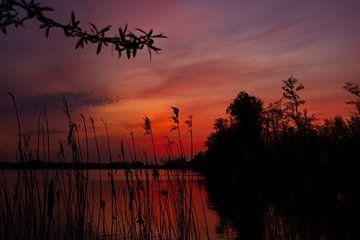 Roter Sonnenuntergang am See von Jeroen Lugtenburg