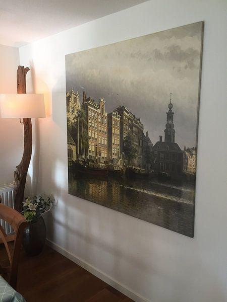 Klantfoto: Het Singel te Amsterdam naar de Munt gezien, op canvas