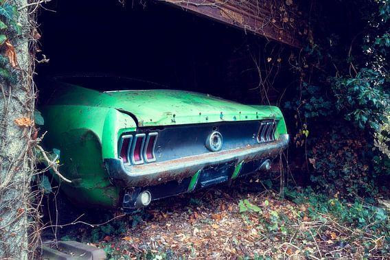 Verlaten Ford Mustang in Garage. van Roman Robroek