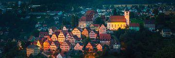 Panorama van een avond in Altensteig