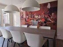 Klantfoto: Het vrolijke huisgezin, Jan Steen, op print op doek