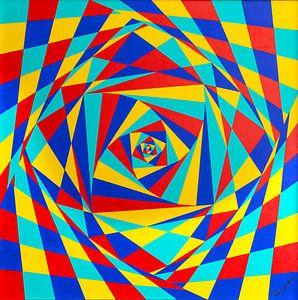 Modern Schilderij Kantelende Vierkanten