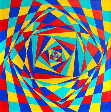 Schilderij Kantelende Vierkanten van Ton van Breukelen