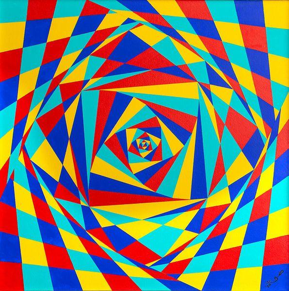 Modern Schilderij Kantelende Vierkanten van Ton van Breukelen