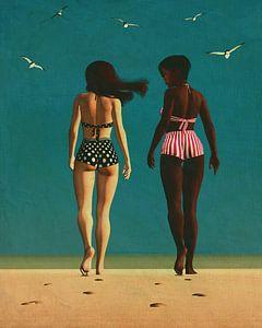 Retro Schilderij van meisjes die op het strand wandelen van Jan Keteleer