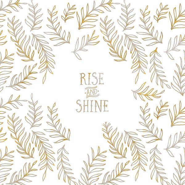 Grafische Kunst RISE & SHINE | goud en marmer van Melanie Viola