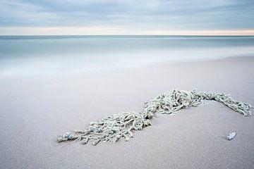filet sur la plage sur Arjan van Duijvenboden